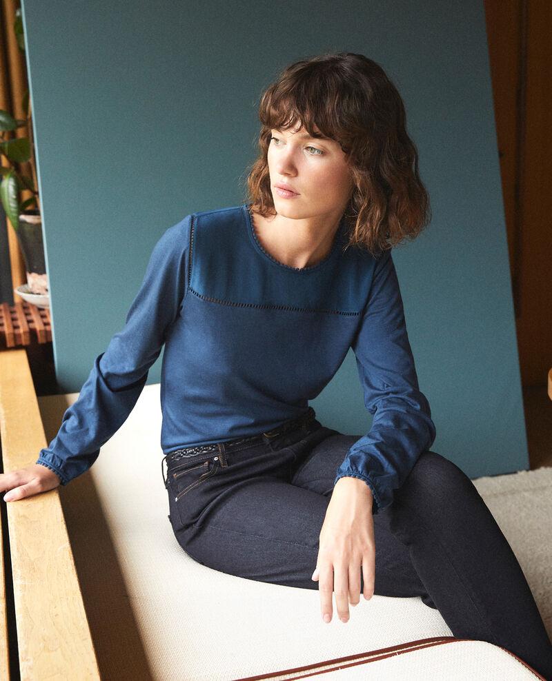Camiseta de dos tejidos con detalles de borlas Majolica blue Glivoire