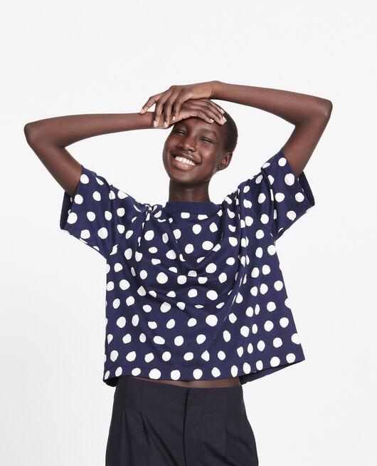Camiseta boxy de algodón DOTS MARITIME BLUE