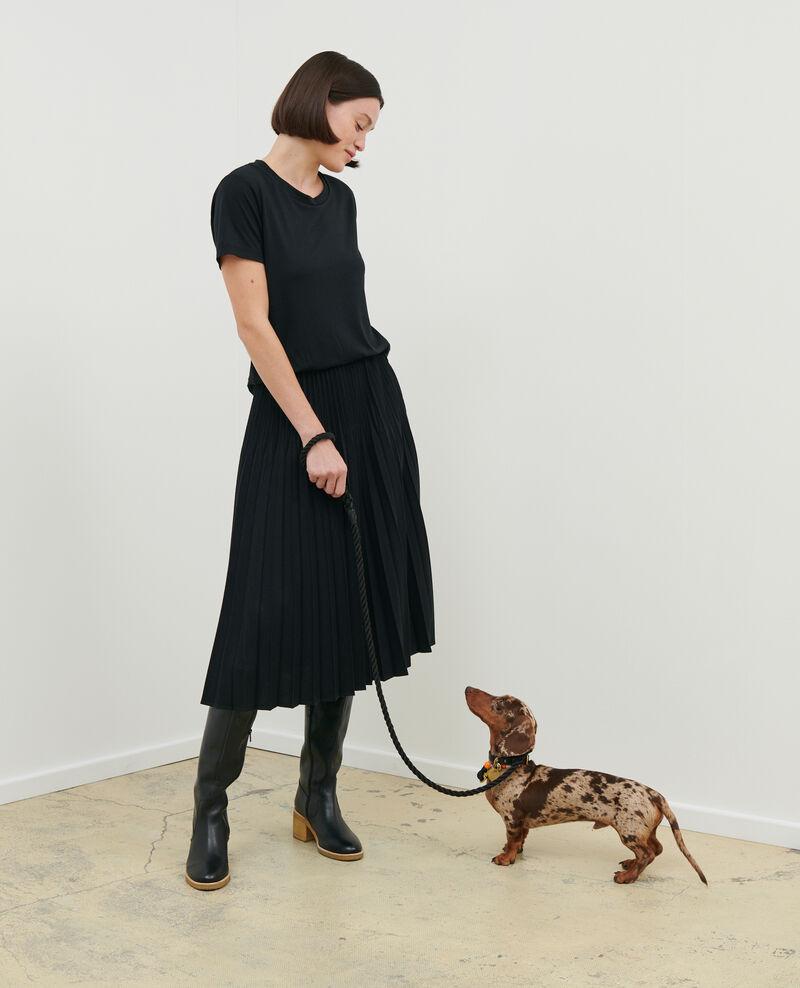 Falda plisada de lana Black beauty Mareille