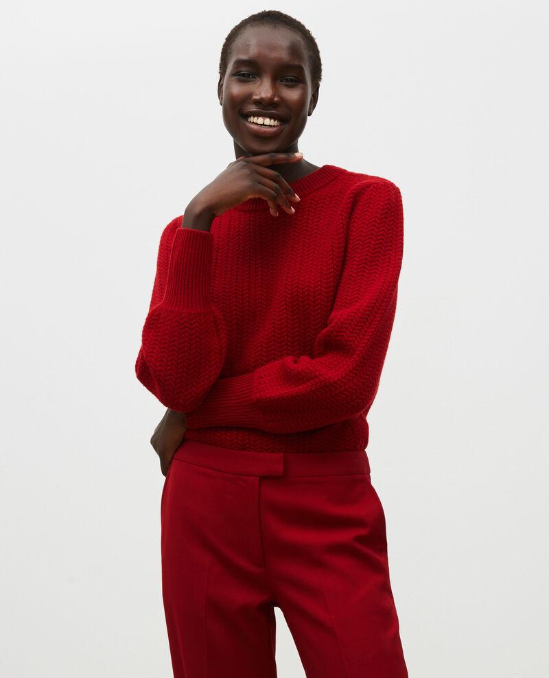 Jersey de lana con cuello redondo, trenzas y espigas Royale red Marquise
