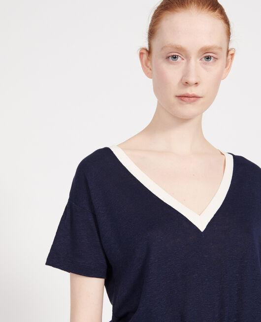 Camiseta de lino de jersey STRIPES MARITIME BLUE BUTTERCREAM