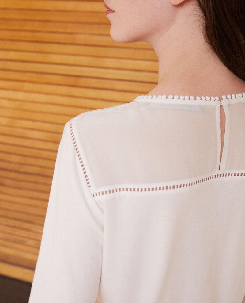 Camiseta de dos tejidos con detalles de borlas Blanco Glivoire