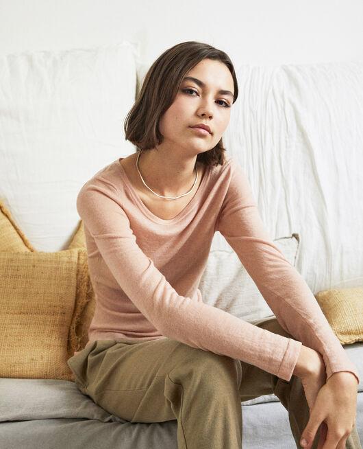 Jersey de lana con cuello redondo PINK BEIGE