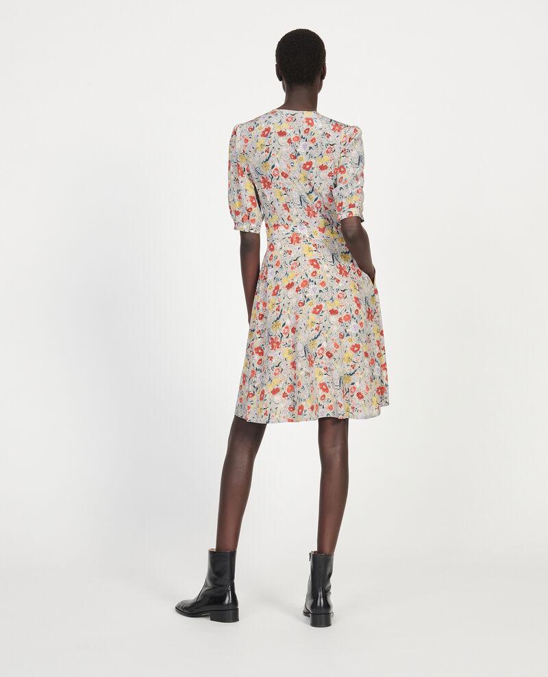 Vestido corto con escote cruzado de seda floral Print eden cream Meanie