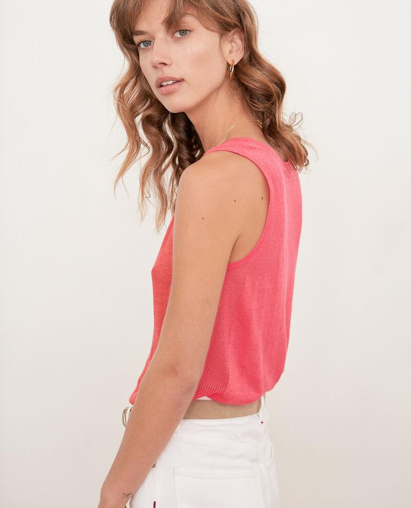 Camiseta de tirantes de punto con detalles calados Ultra pink Flanelle