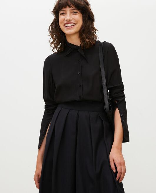 Blusa de seda con manga larga y cuello para atar BLACK BEAUTY