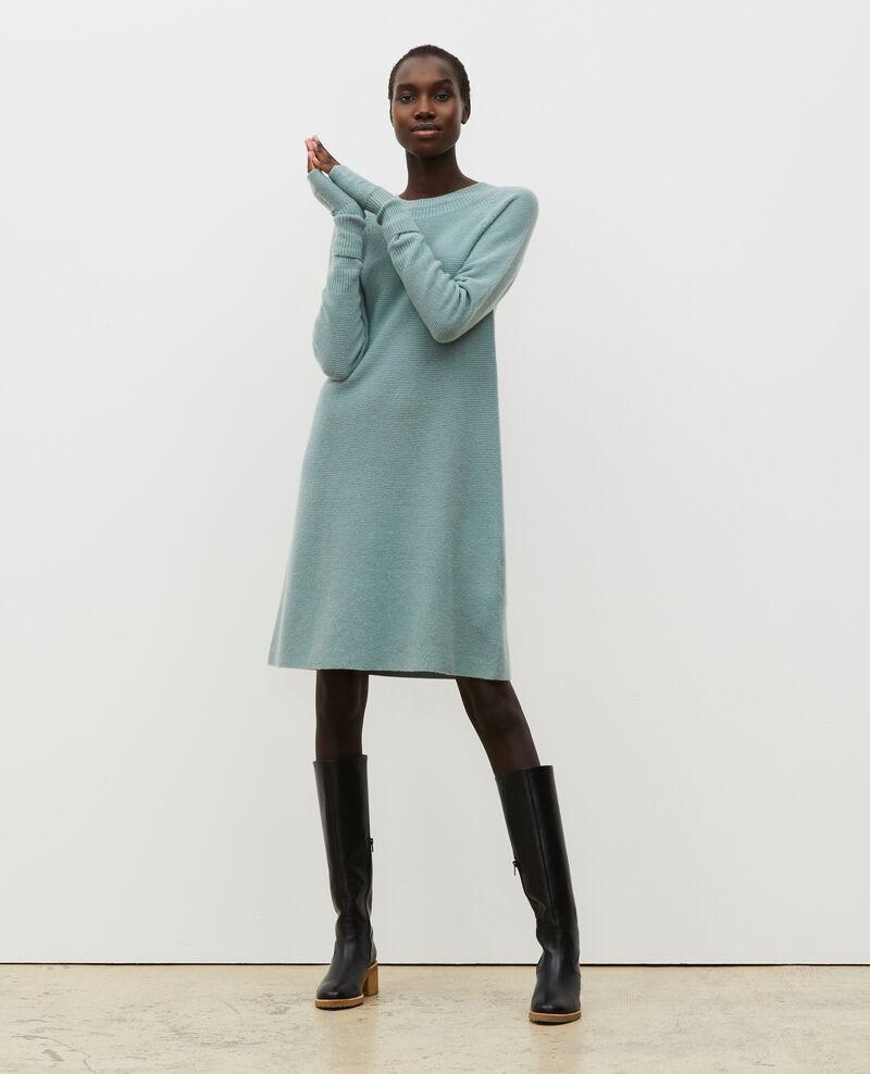 Vestido jersey 3D evasé de cachemir Chinois green Malroy
