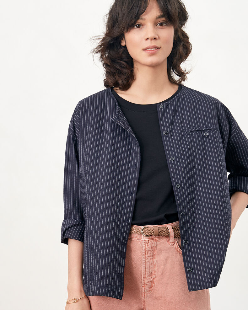Camisa rayada Navy/off white stripes Falaise
