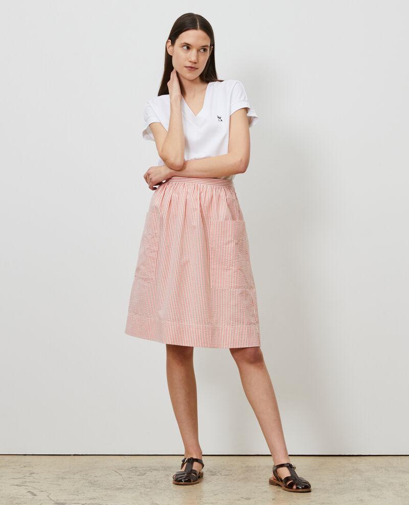 Falda de longitud media de algodón seersucker Str purepumpkin white Nebaral