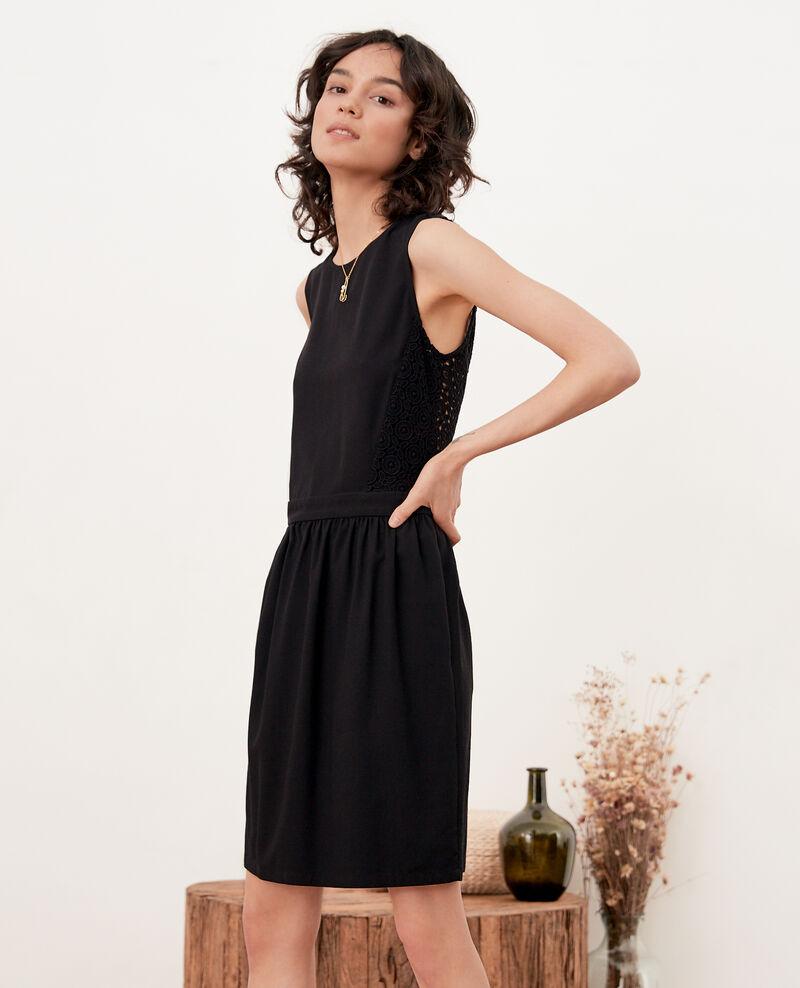 Vestido escote de pico en la espalda con encaje   Noir Farseille