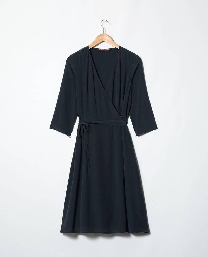 Robe portefeuille en soie Noir Icoeur