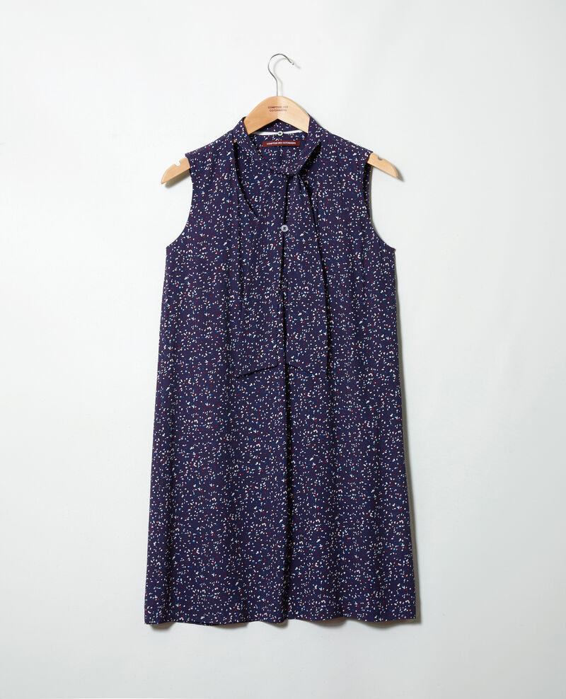 Robe avec lavalière amovible imprimée Confetti ink navy Iolande