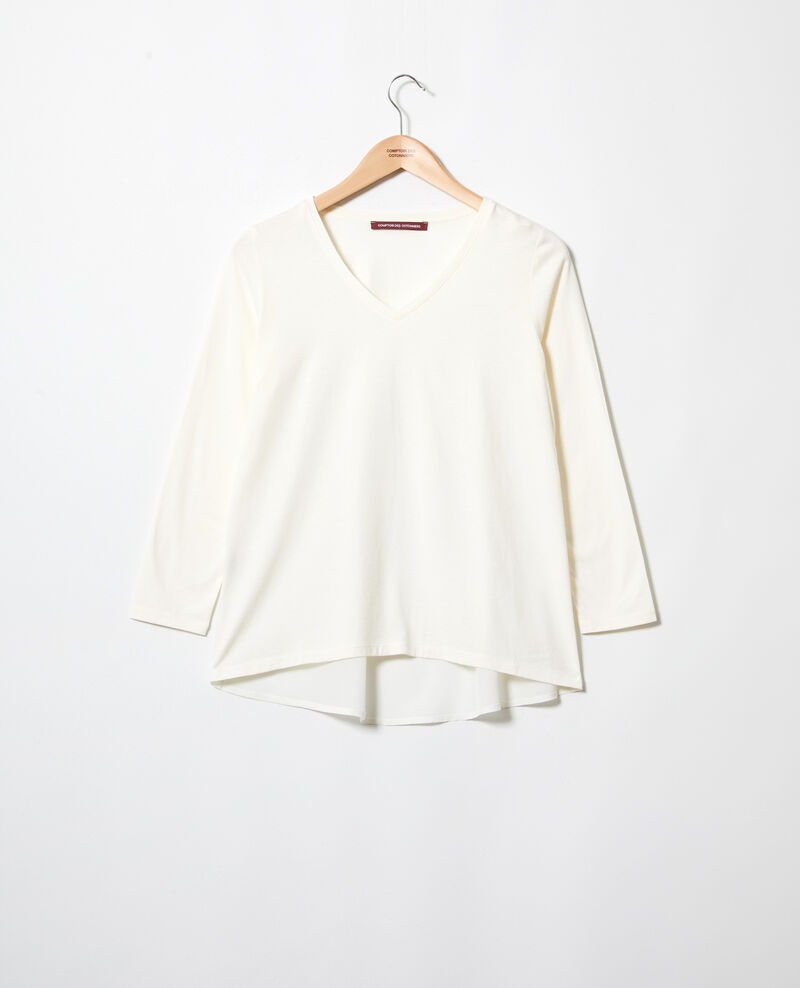 Camiseta de dos materiales Off white Ioko