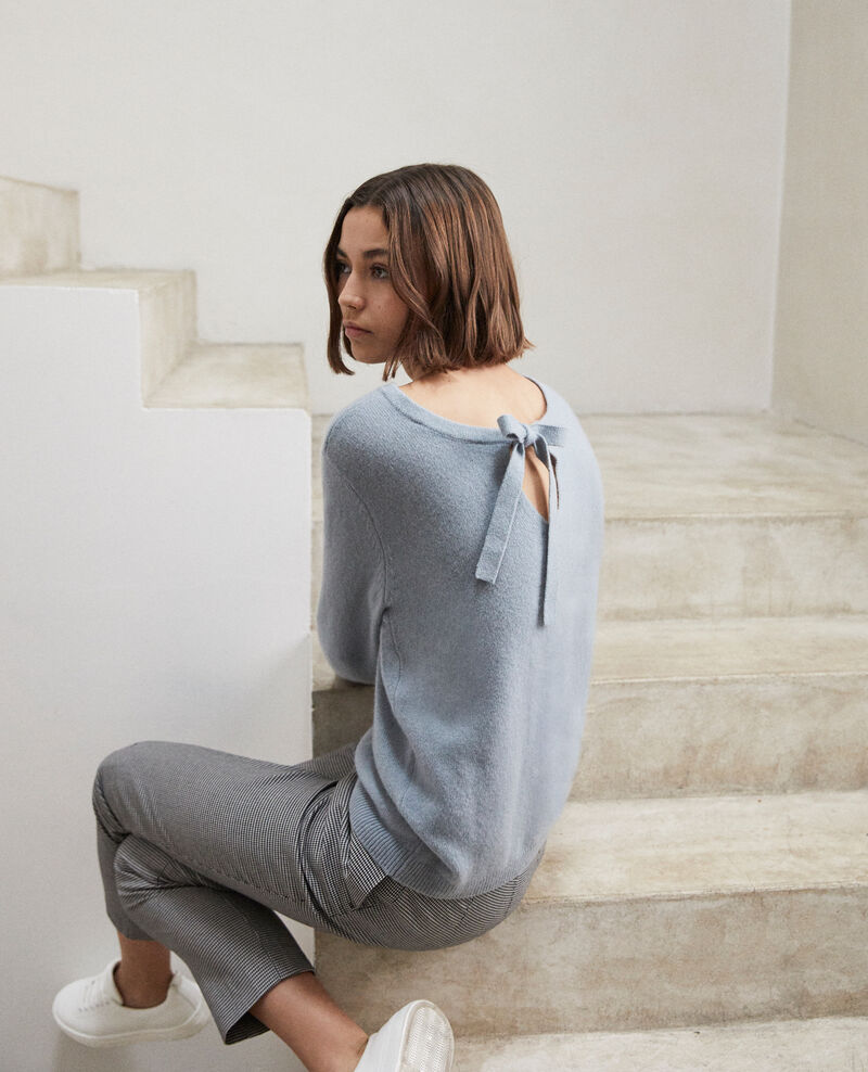 Jersey cuello redondo de cachemir Blue mirage Ixela