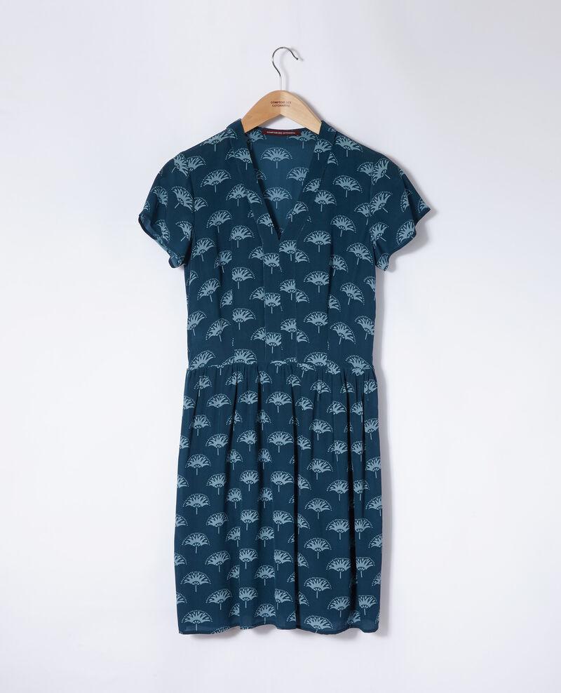 Vestido cuello de pico Azul Ganaela