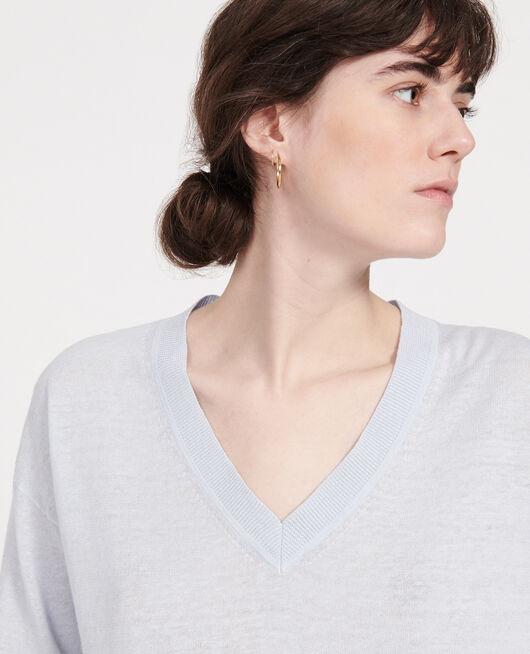Jersey con cuello de pico de lino y algodón HEATHER