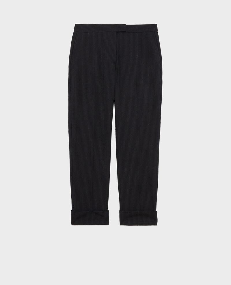 Pantalones MARGUERITE, 7/8 tapered de lana con vuelta Night sky Mokoy