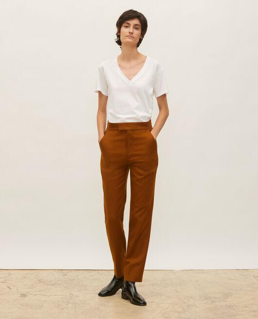Pantalón recto de lana estilo masculino  DARK NAVY