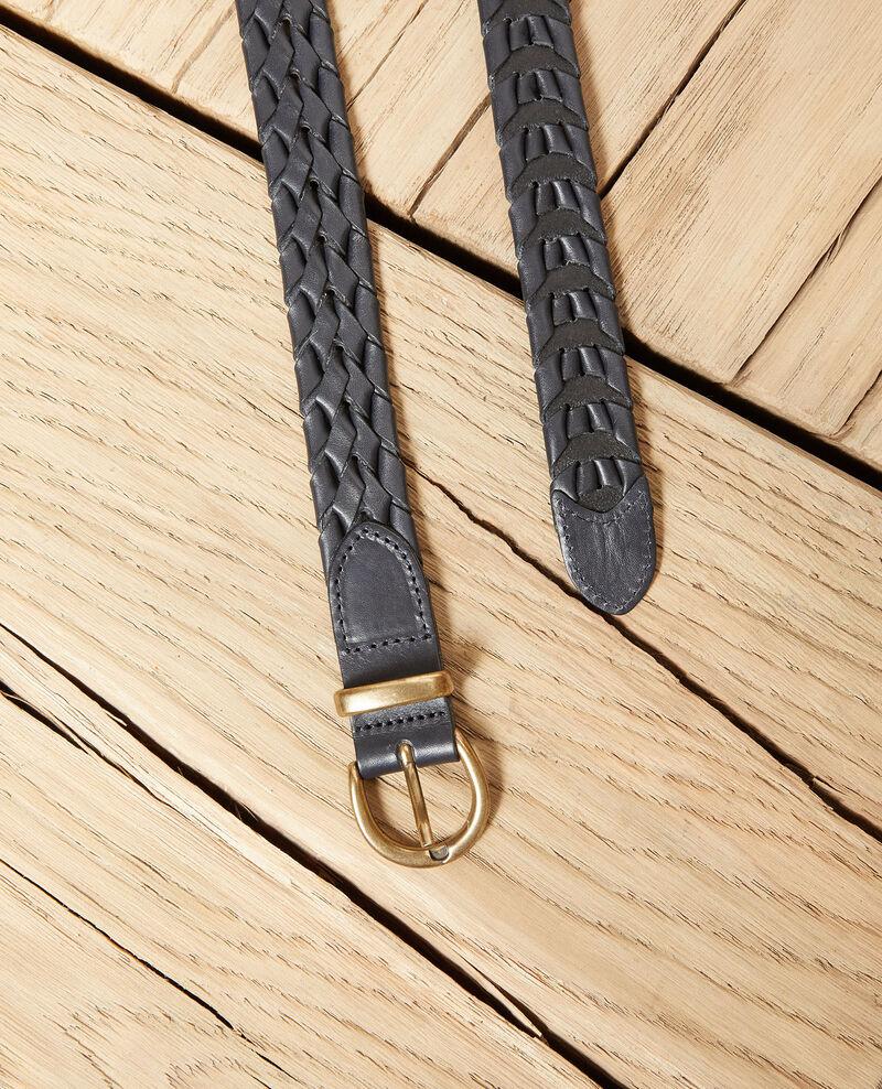 Cinturón trenzado de cuero Dark navy Jessai
