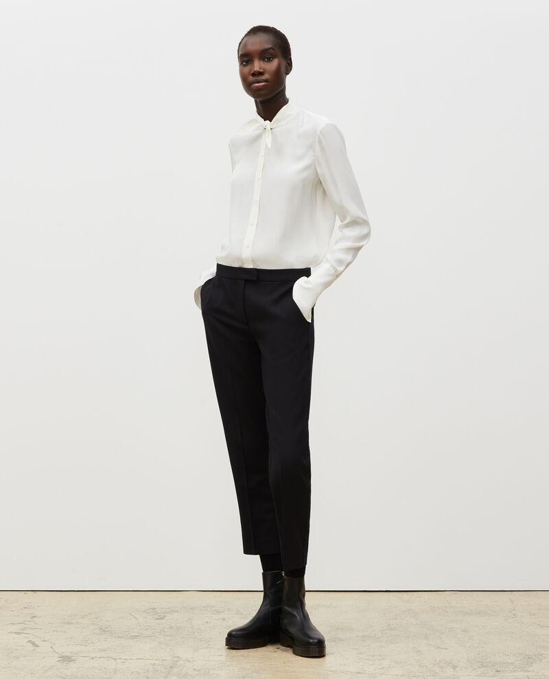 Pantalones MARGUERITE, 7/8 tapered de lana  Black beauty Mokyo