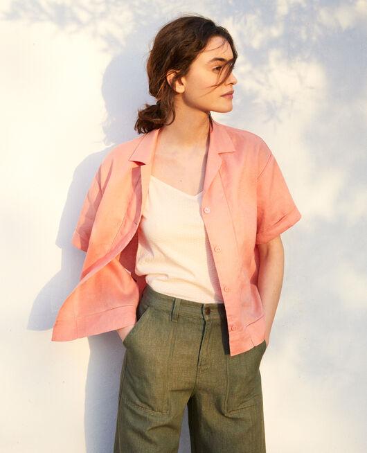 Camisa con cuello abierto de lino SALMON PINK