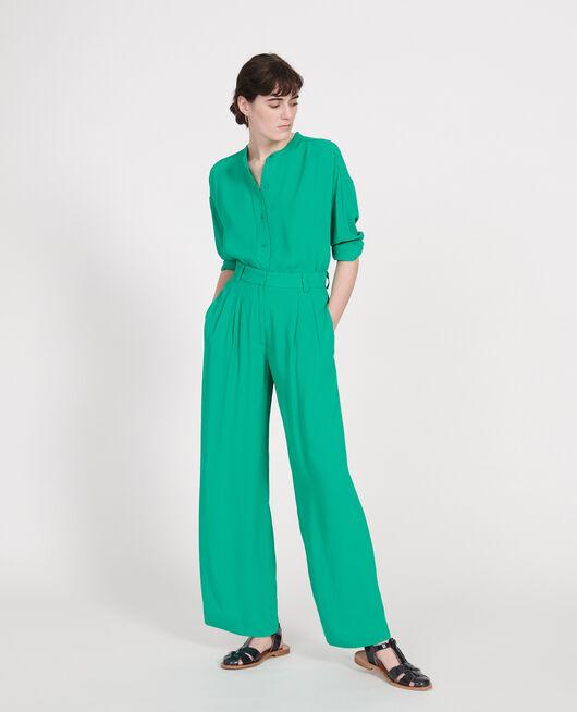 Pantalón de viscosa ancho y fluido con pinzas GOLF GREEN