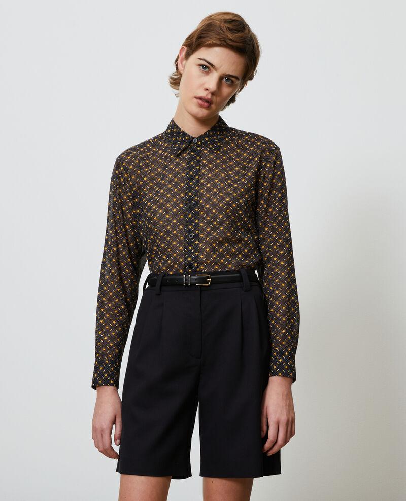 Camisa estampada de algodón Daisy old gold Nandes