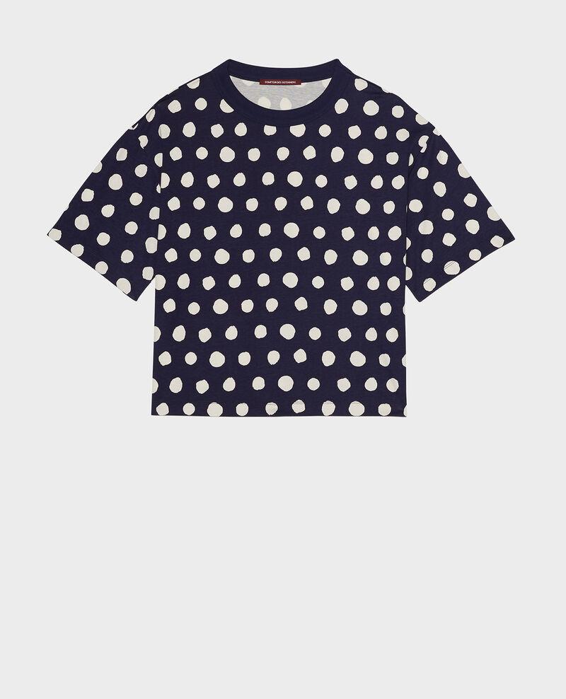 Camiseta boxy de algodón Dots maritime blue Lenoyer