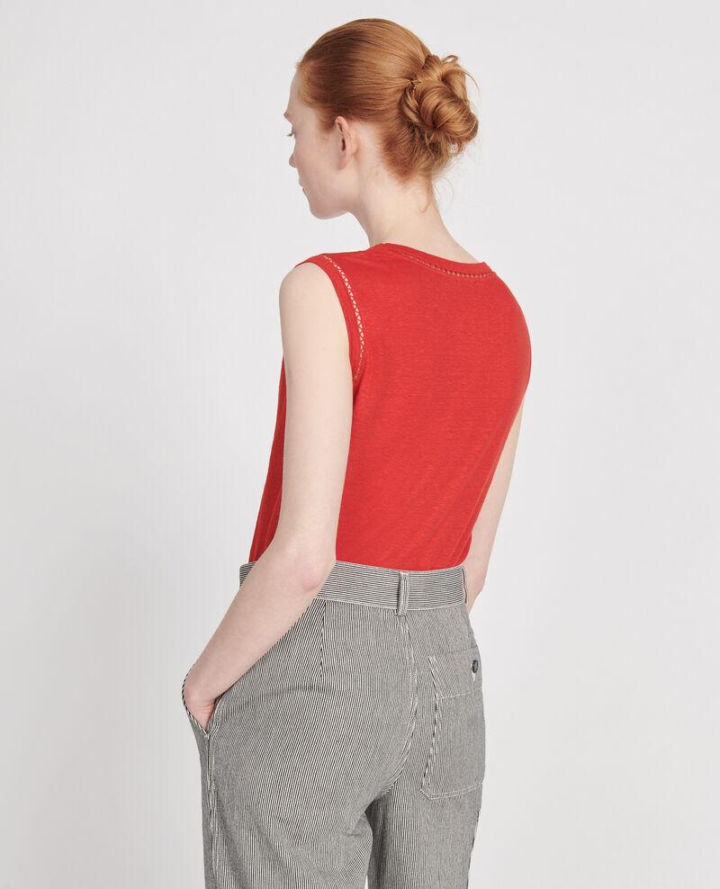 Camiseta de lino de jersey con tirantes Fiery red Lespa