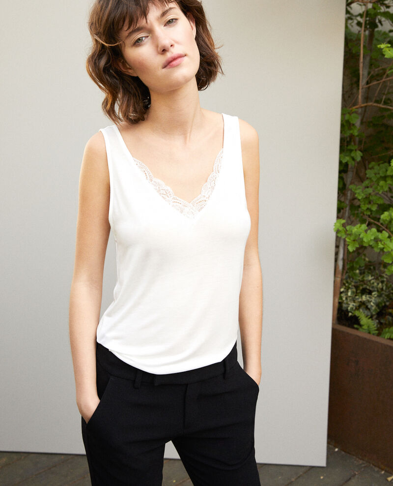 Camiseta de tirantes con encaje Blanco Gaia