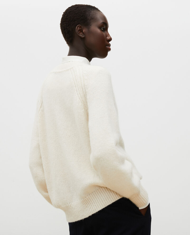 Cárdigan oversize de lana con cuello de pico Jet stream Montfuji