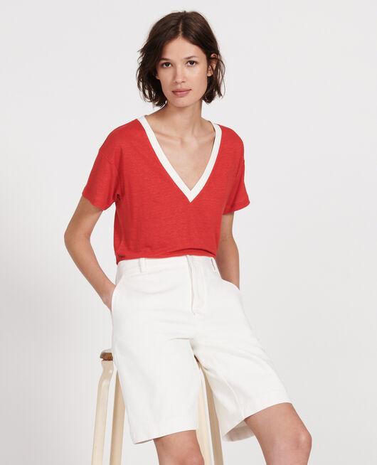 Camiseta de lino de jersey STRIPES FIERY RED GARDENIA