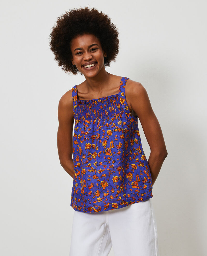 Top de  lino con tirantes Indie-big-blue Nantaise