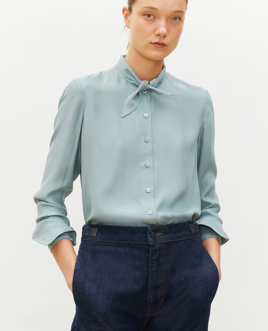 Blusa de seda con manga larga y cuello para atar CHINOIS GREEN