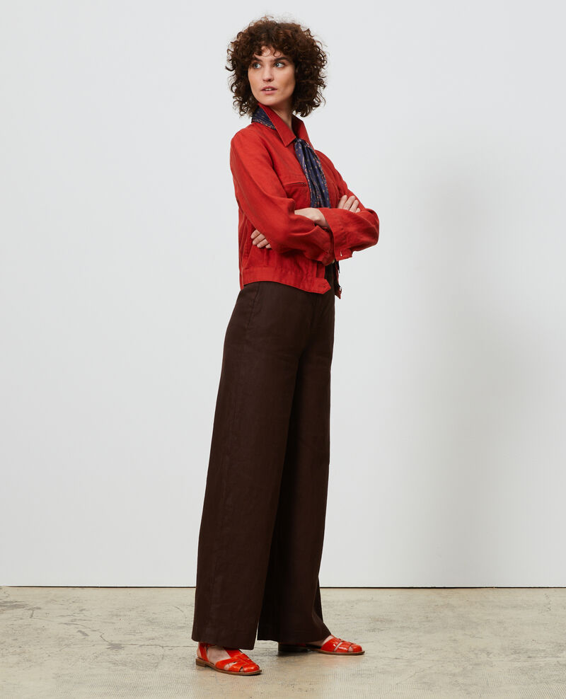 Pantalón de lino con talle alto Mole Neronde