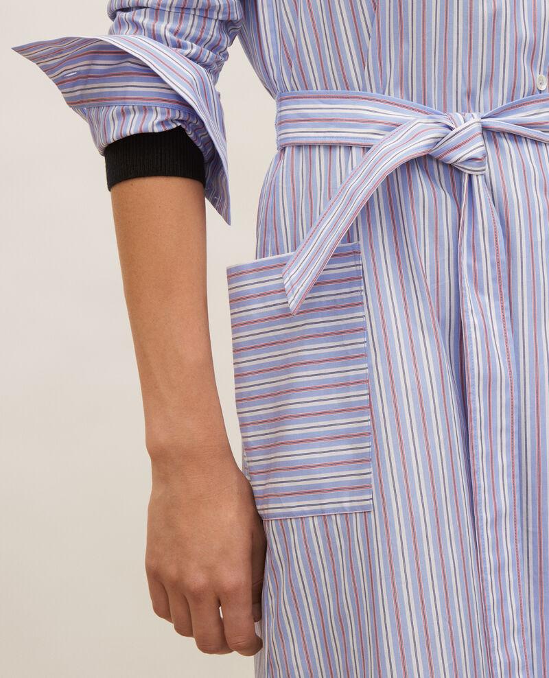 Vestido camisero de algodón con cinturón Popeline stripes Lenka