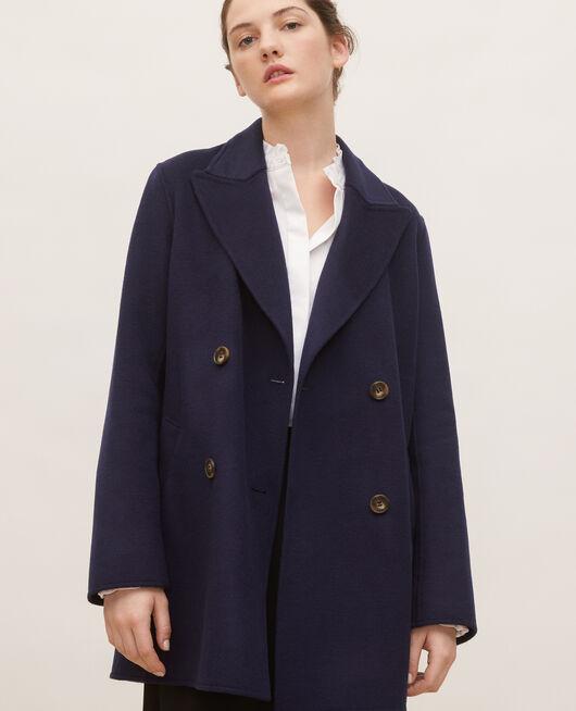 Abrigo tipo chaquetón de lana doble cara MARITIME BLUE