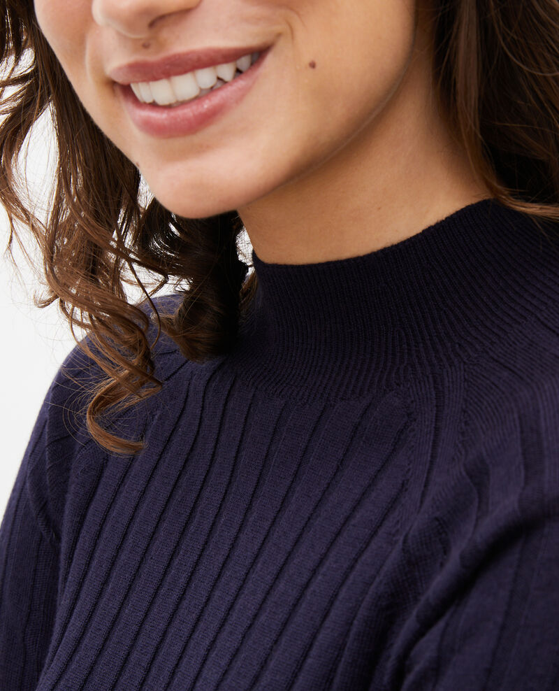 Jersey de canalé con cuello subido de lana merino Night sky Mulie