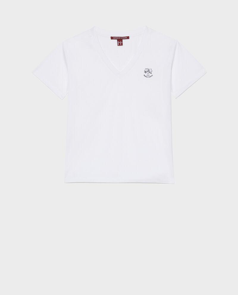 Camiseta bordada de algodón Optical white Nagaoka