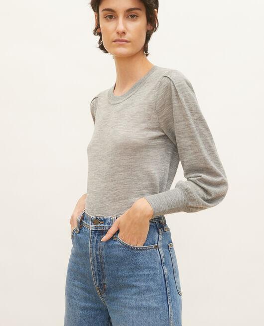 Jersey de lana merino con cuello redondo LIGHT GREY MELANGE