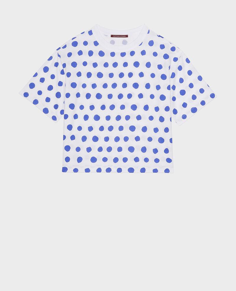 Camiseta boxy de algodón Dots amparo blue Lenoyer