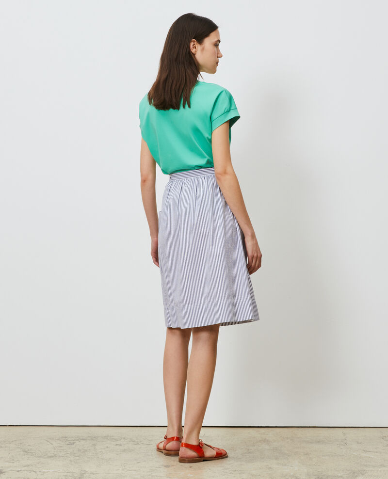 Falda de longitud media de algodón seersucker Str navy Nebaral