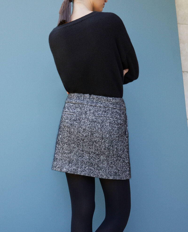Falda corta de espiga Negro Gwinog