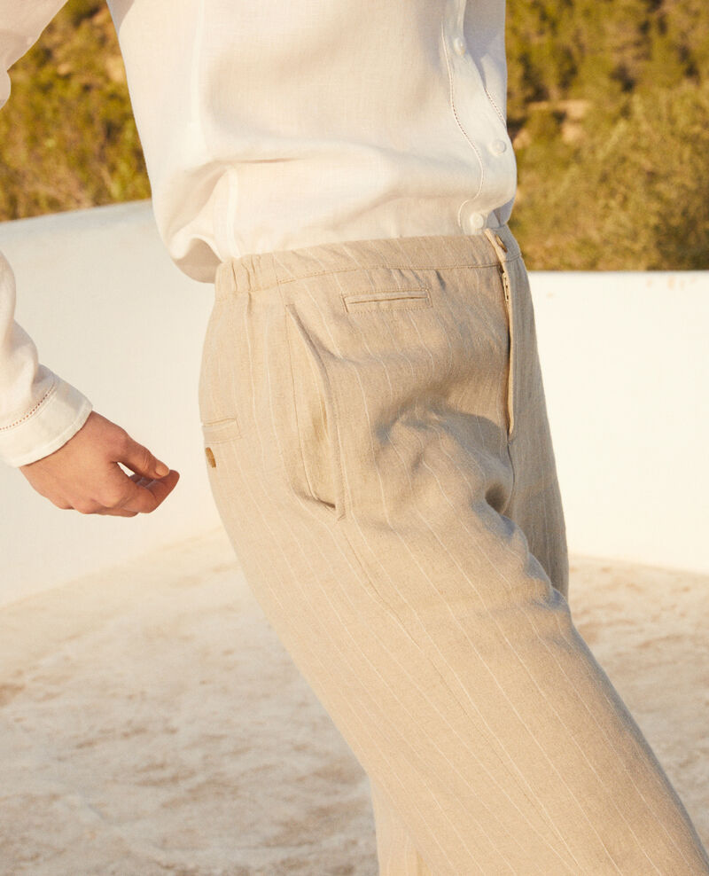 Pantalón corte carrot Natural linen/off white Iphon