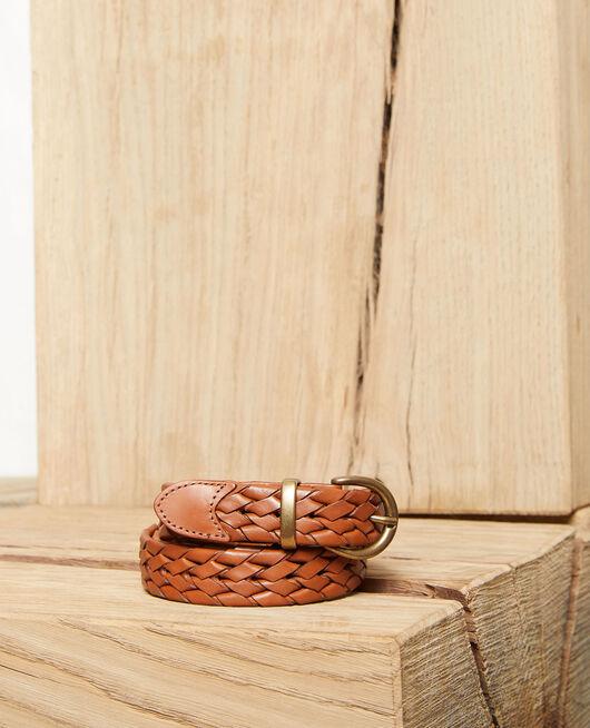 Cinturón trenzado de cuero CAMEL