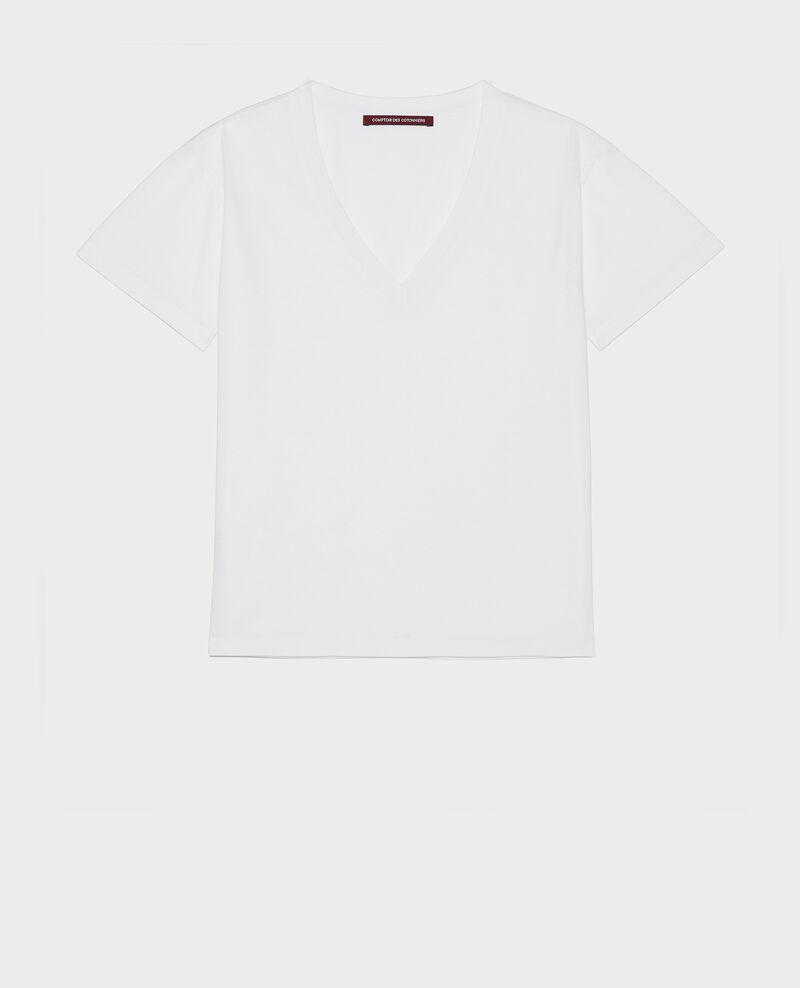Camiseta de algodón con cuello de pico y manga corta Optical white Laberne