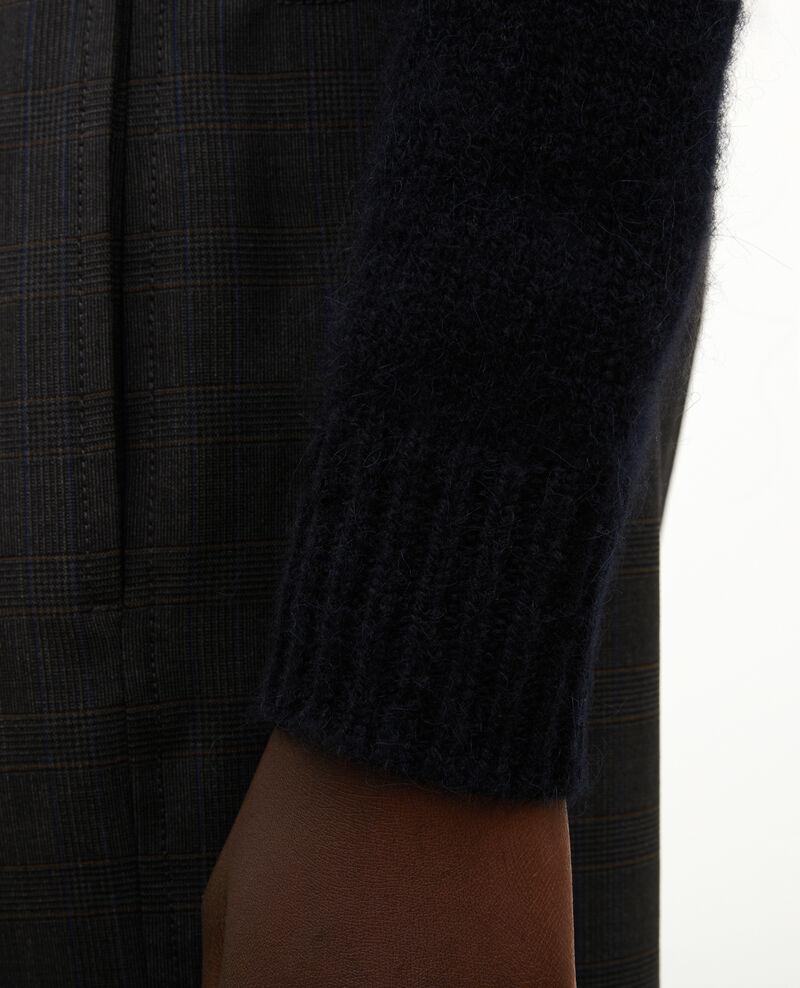 Jersey jacquard sin mangas de lana alpaca con cuello redondo Black brandy lighttaupe jacquard Marolette