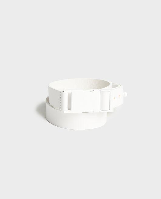 Cinturón de cuero OPTICAL WHITE