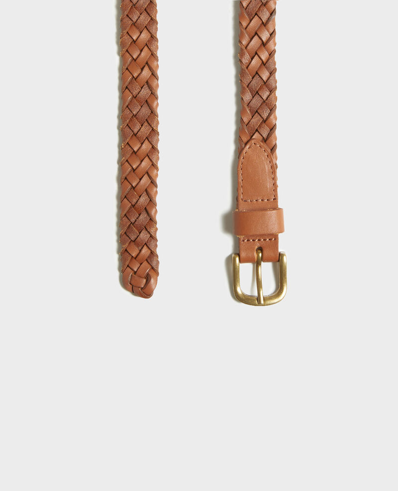 Cinturón trenzado de cuero Camel Luddington