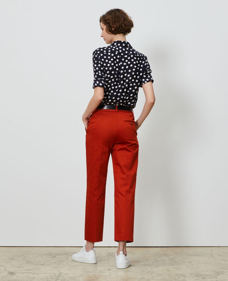 Pantalones chinos 7/8 tapered de algodón Rooibos tea Nezel